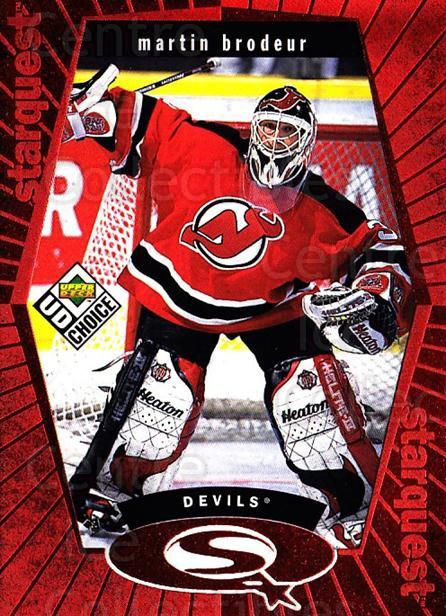 1998-99 UD Choice StarQuest Red #23 Martin Brodeur<br/>4 In Stock - $5.00 each - <a href=https://centericecollectibles.foxycart.com/cart?name=1998-99%20UD%20Choice%20StarQuest%20Red%20%2323%20Martin%20Brodeur...&price=$5.00&code=316354 class=foxycart> Buy it now! </a>