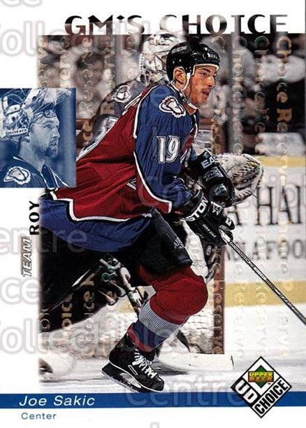 1998-99 UD Choice Reserve #230 Joe Sakic, Patrick Roy<br/>1 In Stock - $5.00 each - <a href=https://centericecollectibles.foxycart.com/cart?name=1998-99%20UD%20Choice%20Reserve%20%23230%20Joe%20Sakic,%20Patr...&quantity_max=1&price=$5.00&code=316559 class=foxycart> Buy it now! </a>