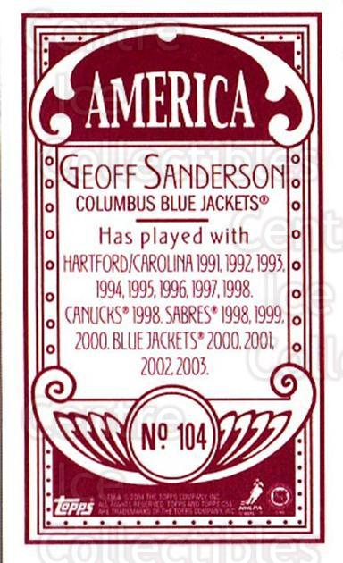 2003-04 Topps C55 Minis American Red #104 Geoff Sanderson<br/>1 In Stock - $5.00 each - <a href=https://centericecollectibles.foxycart.com/cart?name=2003-04%20Topps%20C55%20Minis%20American%20Red%20%23104%20Geoff%20Sanderson...&quantity_max=1&price=$5.00&code=318391 class=foxycart> Buy it now! </a>