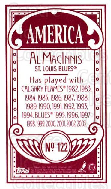 2003-04 Topps C55 Minis American Red #122 Al MacInnis<br/>2 In Stock - $5.00 each - <a href=https://centericecollectibles.foxycart.com/cart?name=2003-04%20Topps%20C55%20Minis%20American%20Red%20%23122%20Al%20MacInnis...&quantity_max=2&price=$5.00&code=318393 class=foxycart> Buy it now! </a>