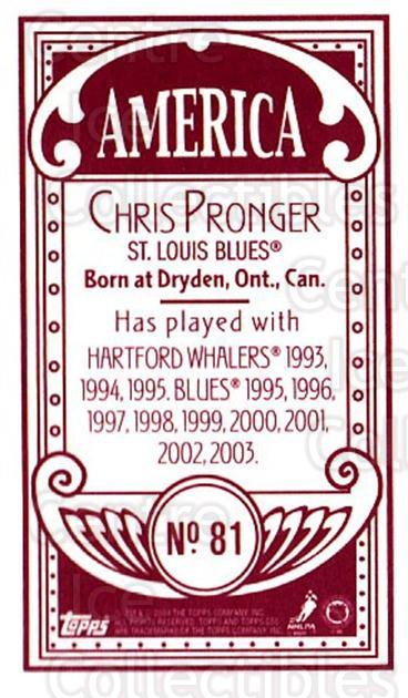 2003-04 Topps C55 Minis American Red #81 Chris Pronger<br/>4 In Stock - $5.00 each - <a href=https://centericecollectibles.foxycart.com/cart?name=2003-04%20Topps%20C55%20Minis%20American%20Red%20%2381%20Chris%20Pronger...&quantity_max=4&price=$5.00&code=318400 class=foxycart> Buy it now! </a>