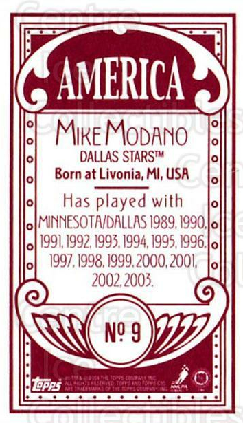 2003-04 Topps C55 Minis American Red #9 Mike Modano<br/>1 In Stock - $5.00 each - <a href=https://centericecollectibles.foxycart.com/cart?name=2003-04%20Topps%20C55%20Minis%20American%20Red%20%239%20Mike%20Modano...&quantity_max=1&price=$5.00&code=318401 class=foxycart> Buy it now! </a>