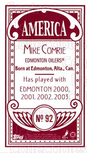 2003-04 Topps C55 Minis American Red #92 Mike Comrie<br/>4 In Stock - $5.00 each - <a href=https://centericecollectibles.foxycart.com/cart?name=2003-04%20Topps%20C55%20Minis%20American%20Red%20%2392%20Mike%20Comrie...&quantity_max=4&price=$5.00&code=318404 class=foxycart> Buy it now! </a>