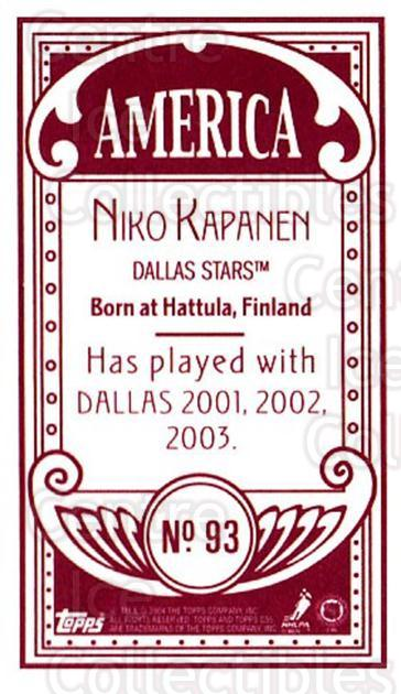 2003-04 Topps C55 Minis American Red #93 Niko Kapanen<br/>1 In Stock - $5.00 each - <a href=https://centericecollectibles.foxycart.com/cart?name=2003-04%20Topps%20C55%20Minis%20American%20Red%20%2393%20Niko%20Kapanen...&quantity_max=1&price=$5.00&code=318405 class=foxycart> Buy it now! </a>