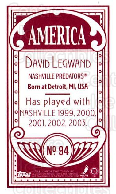 2003-04 Topps C55 Minis American Red #94 David Legwand<br/>1 In Stock - $5.00 each - <a href=https://centericecollectibles.foxycart.com/cart?name=2003-04%20Topps%20C55%20Minis%20American%20Red%20%2394%20David%20Legwand...&quantity_max=1&price=$5.00&code=318406 class=foxycart> Buy it now! </a>