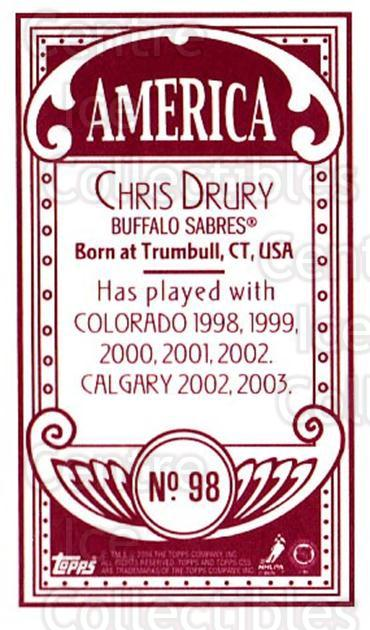 2003-04 Topps C55 Minis American Red #98 Chris Drury<br/>1 In Stock - $5.00 each - <a href=https://centericecollectibles.foxycart.com/cart?name=2003-04%20Topps%20C55%20Minis%20American%20Red%20%2398%20Chris%20Drury...&quantity_max=1&price=$5.00&code=318410 class=foxycart> Buy it now! </a>