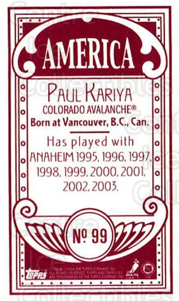 2003-04 Topps C55 Minis American Red #99 Paul Kariya<br/>1 In Stock - $5.00 each - <a href=https://centericecollectibles.foxycart.com/cart?name=2003-04%20Topps%20C55%20Minis%20American%20Red%20%2399%20Paul%20Kariya...&quantity_max=1&price=$5.00&code=318411 class=foxycart> Buy it now! </a>