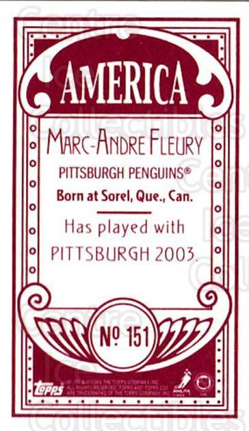 2003-04 Topps C55 Minis American Red #151 Marc-Andre Fleury<br/>1 In Stock - $20.00 each - <a href=https://centericecollectibles.foxycart.com/cart?name=2003-04%20Topps%20C55%20Minis%20American%20Red%20%23151%20Marc-Andre%20Fleu...&quantity_max=1&price=$20.00&code=318413 class=foxycart> Buy it now! </a>