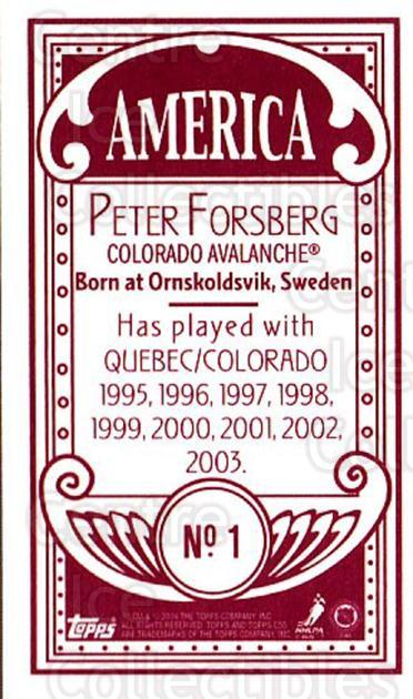 2003-04 Topps C55 Minis American Red #1 Peter Forsberg<br/>1 In Stock - $10.00 each - <a href=https://centericecollectibles.foxycart.com/cart?name=2003-04%20Topps%20C55%20Minis%20American%20Red%20%231%20Peter%20Forsberg...&quantity_max=1&price=$10.00&code=318414 class=foxycart> Buy it now! </a>