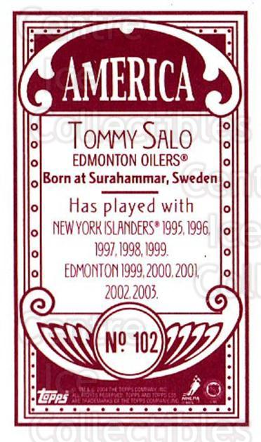 2003-04 Topps C55 Minis American Red #102 Tommy Salo<br/>1 In Stock - $5.00 each - <a href=https://centericecollectibles.foxycart.com/cart?name=2003-04%20Topps%20C55%20Minis%20American%20Red%20%23102%20Tommy%20Salo...&quantity_max=1&price=$5.00&code=318418 class=foxycart> Buy it now! </a>