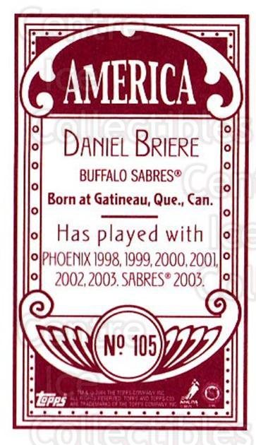 2003-04 Topps C55 Minis American Red #105 Daniel Briere<br/>2 In Stock - $5.00 each - <a href=https://centericecollectibles.foxycart.com/cart?name=2003-04%20Topps%20C55%20Minis%20American%20Red%20%23105%20Daniel%20Briere...&quantity_max=2&price=$5.00&code=318420 class=foxycart> Buy it now! </a>