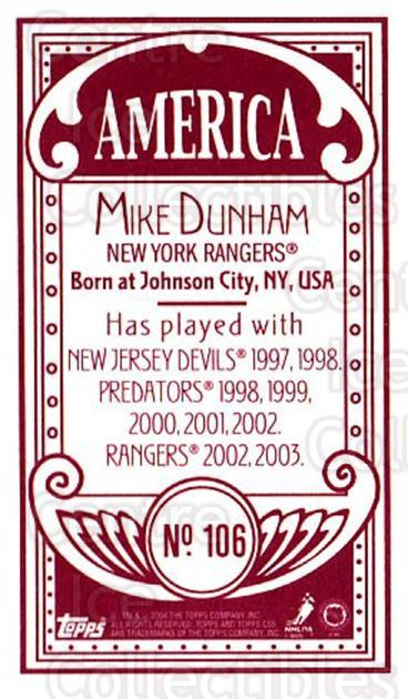 2003-04 Topps C55 Minis American Red #106 Mike Dunham<br/>1 In Stock - $5.00 each - <a href=https://centericecollectibles.foxycart.com/cart?name=2003-04%20Topps%20C55%20Minis%20American%20Red%20%23106%20Mike%20Dunham...&quantity_max=1&price=$5.00&code=318421 class=foxycart> Buy it now! </a>