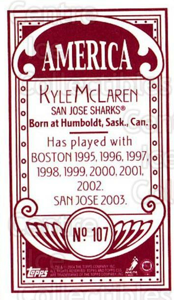 2003-04 Topps C55 Minis American Red #107 Kyle McLaren<br/>2 In Stock - $5.00 each - <a href=https://centericecollectibles.foxycart.com/cart?name=2003-04%20Topps%20C55%20Minis%20American%20Red%20%23107%20Kyle%20McLaren...&quantity_max=2&price=$5.00&code=318422 class=foxycart> Buy it now! </a>