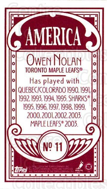 2003-04 Topps C55 Minis American Red #11 Owen Nolan<br/>1 In Stock - $5.00 each - <a href=https://centericecollectibles.foxycart.com/cart?name=2003-04%20Topps%20C55%20Minis%20American%20Red%20%2311%20Owen%20Nolan...&quantity_max=1&price=$5.00&code=318425 class=foxycart> Buy it now! </a>