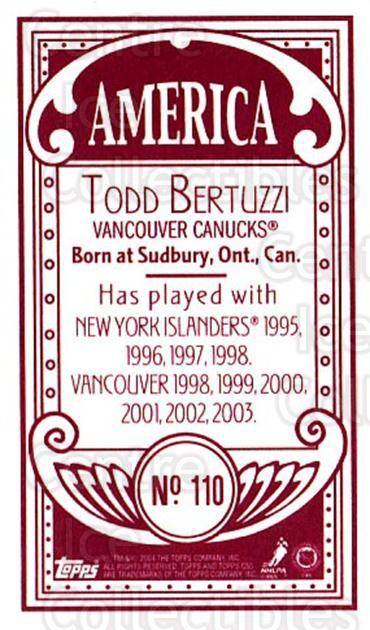 2003-04 Topps C55 Minis American Red #110 Todd Bertuzzi<br/>2 In Stock - $5.00 each - <a href=https://centericecollectibles.foxycart.com/cart?name=2003-04%20Topps%20C55%20Minis%20American%20Red%20%23110%20Todd%20Bertuzzi...&quantity_max=2&price=$5.00&code=318426 class=foxycart> Buy it now! </a>