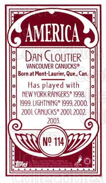 2003-04 Topps C55 Minis American Red #114 Dan Cloutier<br/>1 In Stock - $5.00 each - <a href=https://centericecollectibles.foxycart.com/cart?name=2003-04%20Topps%20C55%20Minis%20American%20Red%20%23114%20Dan%20Cloutier...&quantity_max=1&price=$5.00&code=318430 class=foxycart> Buy it now! </a>