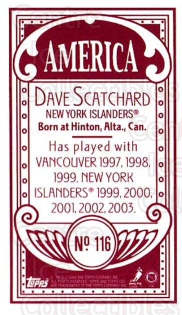 2003-04 Topps C55 Minis American Red #116 Dave Scatchard<br/>1 In Stock - $5.00 each - <a href=https://centericecollectibles.foxycart.com/cart?name=2003-04%20Topps%20C55%20Minis%20American%20Red%20%23116%20Dave%20Scatchard...&quantity_max=1&price=$5.00&code=318431 class=foxycart> Buy it now! </a>