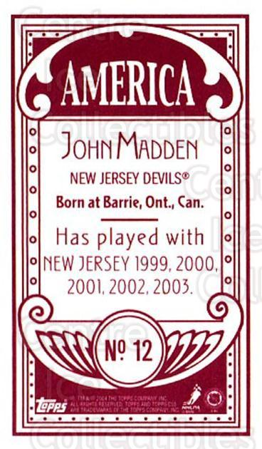 2003-04 Topps C55 Minis American Red #12 John Madden<br/>1 In Stock - $5.00 each - <a href=https://centericecollectibles.foxycart.com/cart?name=2003-04%20Topps%20C55%20Minis%20American%20Red%20%2312%20John%20Madden...&quantity_max=1&price=$5.00&code=318435 class=foxycart> Buy it now! </a>