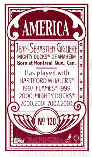 2003-04 Topps C55 Minis American Red #120 Jean-Sebastien Giguere<br/>1 In Stock - $5.00 each - <a href=https://centericecollectibles.foxycart.com/cart?name=2003-04%20Topps%20C55%20Minis%20American%20Red%20%23120%20Jean-Sebastien%20...&quantity_max=1&price=$5.00&code=318436 class=foxycart> Buy it now! </a>