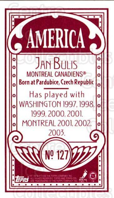 2003-04 Topps C55 Minis American Red #127 Jan Bulis<br/>1 In Stock - $5.00 each - <a href=https://centericecollectibles.foxycart.com/cart?name=2003-04%20Topps%20C55%20Minis%20American%20Red%20%23127%20Jan%20Bulis...&quantity_max=1&price=$5.00&code=318442 class=foxycart> Buy it now! </a>