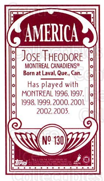 2003-04 Topps C55 Minis American Red #130 Jose Theodore<br/>1 In Stock - $5.00 each - <a href=https://centericecollectibles.foxycart.com/cart?name=2003-04%20Topps%20C55%20Minis%20American%20Red%20%23130%20Jose%20Theodore...&quantity_max=1&price=$5.00&code=318445 class=foxycart> Buy it now! </a>