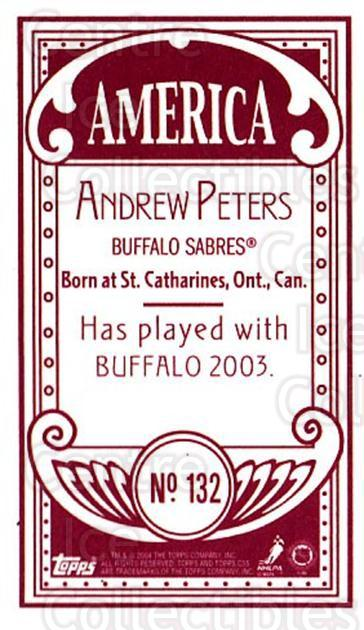 2003-04 Topps C55 Minis American Red #132 Andrew Peters<br/>2 In Stock - $5.00 each - <a href=https://centericecollectibles.foxycart.com/cart?name=2003-04%20Topps%20C55%20Minis%20American%20Red%20%23132%20Andrew%20Peters...&quantity_max=2&price=$5.00&code=318447 class=foxycart> Buy it now! </a>