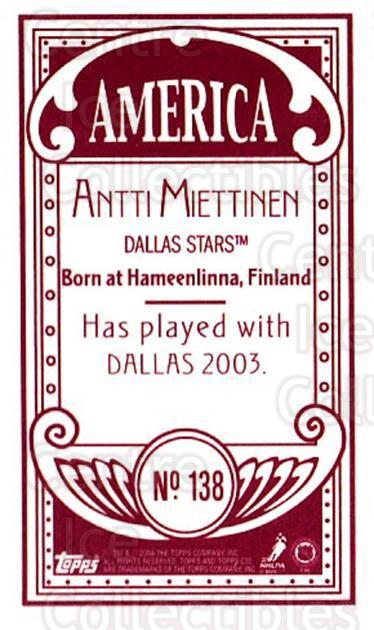 2003-04 Topps C55 Minis American Red #138 Antti Miettinen<br/>1 In Stock - $5.00 each - <a href=https://centericecollectibles.foxycart.com/cart?name=2003-04%20Topps%20C55%20Minis%20American%20Red%20%23138%20Antti%20Miettinen...&quantity_max=1&price=$5.00&code=318452 class=foxycart> Buy it now! </a>