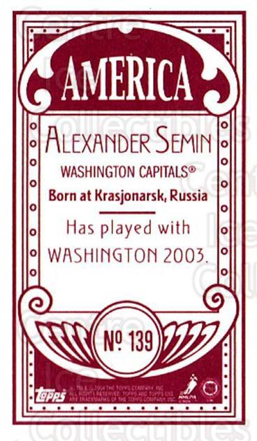 2003-04 Topps C55 Minis American Red #139 Alexander Semin<br/>1 In Stock - $5.00 each - <a href=https://centericecollectibles.foxycart.com/cart?name=2003-04%20Topps%20C55%20Minis%20American%20Red%20%23139%20Alexander%20Semin...&quantity_max=1&price=$5.00&code=318453 class=foxycart> Buy it now! </a>