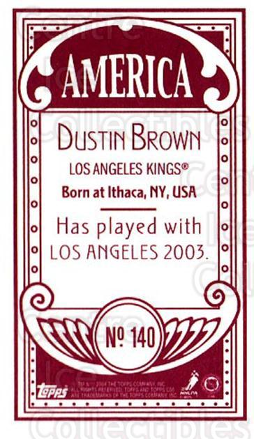 2003-04 Topps C55 Minis American Red #140 Dustin Brown<br/>1 In Stock - $5.00 each - <a href=https://centericecollectibles.foxycart.com/cart?name=2003-04%20Topps%20C55%20Minis%20American%20Red%20%23140%20Dustin%20Brown...&quantity_max=1&price=$5.00&code=318455 class=foxycart> Buy it now! </a>