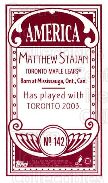 2003-04 Topps C55 Minis American Red #142 Matt Stajan<br/>1 In Stock - $5.00 each - <a href=https://centericecollectibles.foxycart.com/cart?name=2003-04%20Topps%20C55%20Minis%20American%20Red%20%23142%20Matt%20Stajan...&quantity_max=1&price=$5.00&code=318456 class=foxycart> Buy it now! </a>