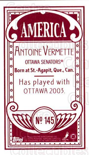 2003-04 Topps C55 Minis American Red #145 Antoine Vermette<br/>2 In Stock - $5.00 each - <a href=https://centericecollectibles.foxycart.com/cart?name=2003-04%20Topps%20C55%20Minis%20American%20Red%20%23145%20Antoine%20Vermett...&quantity_max=2&price=$5.00&code=318459 class=foxycart> Buy it now! </a>