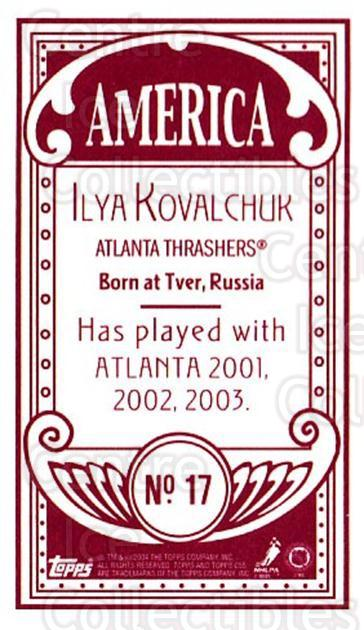 2003-04 Topps C55 Minis American Red #17 Ilya Kovalchuk<br/>2 In Stock - $5.00 each - <a href=https://centericecollectibles.foxycart.com/cart?name=2003-04%20Topps%20C55%20Minis%20American%20Red%20%2317%20Ilya%20Kovalchuk...&quantity_max=2&price=$5.00&code=318471 class=foxycart> Buy it now! </a>