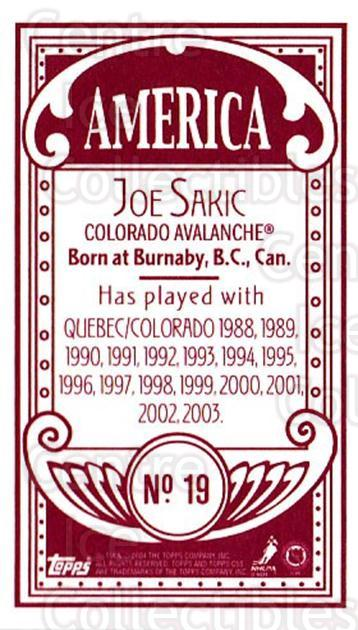2003-04 Topps C55 Minis American Red #19 Joe Sakic<br/>1 In Stock - $10.00 each - <a href=https://centericecollectibles.foxycart.com/cart?name=2003-04%20Topps%20C55%20Minis%20American%20Red%20%2319%20Joe%20Sakic...&quantity_max=1&price=$10.00&code=318473 class=foxycart> Buy it now! </a>
