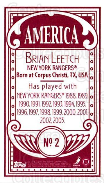 2003-04 Topps C55 Minis American Red #2 Brian Leetch<br/>2 In Stock - $5.00 each - <a href=https://centericecollectibles.foxycart.com/cart?name=2003-04%20Topps%20C55%20Minis%20American%20Red%20%232%20Brian%20Leetch...&quantity_max=2&price=$5.00&code=318474 class=foxycart> Buy it now! </a>