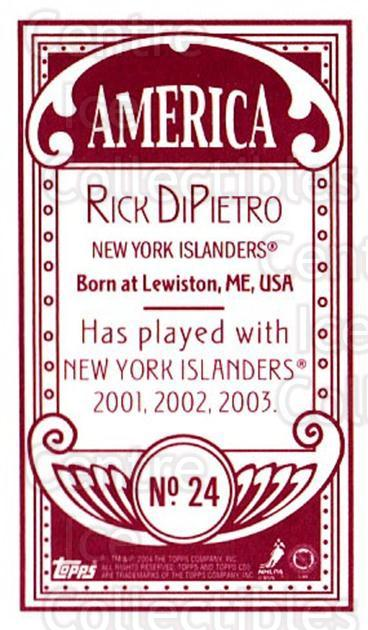 2003-04 Topps C55 Minis American Red #24 Rick DiPietro<br/>1 In Stock - $5.00 each - <a href=https://centericecollectibles.foxycart.com/cart?name=2003-04%20Topps%20C55%20Minis%20American%20Red%20%2324%20Rick%20DiPietro...&quantity_max=1&price=$5.00&code=318477 class=foxycart> Buy it now! </a>