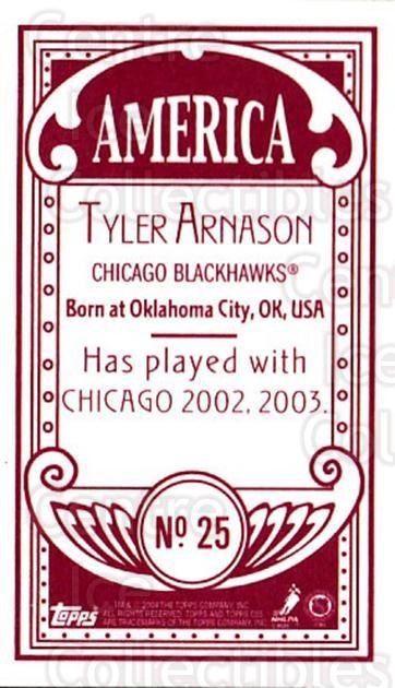 2003-04 Topps C55 Minis American Red #25 Tyler Arnason<br/>3 In Stock - $5.00 each - <a href=https://centericecollectibles.foxycart.com/cart?name=2003-04%20Topps%20C55%20Minis%20American%20Red%20%2325%20Tyler%20Arnason...&quantity_max=3&price=$5.00&code=318478 class=foxycart> Buy it now! </a>