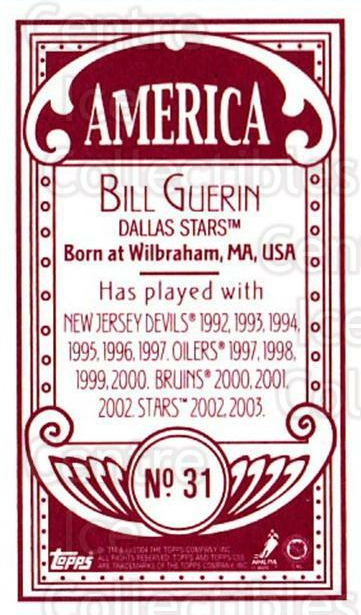 2003-04 Topps C55 Minis American Red #31 Bill Guerin<br/>2 In Stock - $5.00 each - <a href=https://centericecollectibles.foxycart.com/cart?name=2003-04%20Topps%20C55%20Minis%20American%20Red%20%2331%20Bill%20Guerin...&quantity_max=2&price=$5.00&code=318485 class=foxycart> Buy it now! </a>