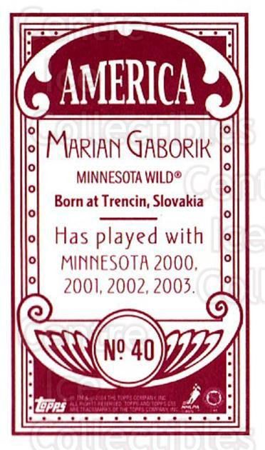 2003-04 Topps C55 Minis American Red #40 Marian Gaborik<br/>2 In Stock - $5.00 each - <a href=https://centericecollectibles.foxycart.com/cart?name=2003-04%20Topps%20C55%20Minis%20American%20Red%20%2340%20Marian%20Gaborik...&quantity_max=2&price=$5.00&code=318494 class=foxycart> Buy it now! </a>