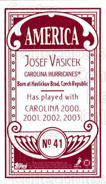 2003-04 Topps C55 Minis American Red #41 Josef Vasicek<br/>3 In Stock - $5.00 each - <a href=https://centericecollectibles.foxycart.com/cart?name=2003-04%20Topps%20C55%20Minis%20American%20Red%20%2341%20Josef%20Vasicek...&quantity_max=3&price=$5.00&code=318495 class=foxycart> Buy it now! </a>
