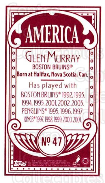 2003-04 Topps C55 Minis American Red #47 Glen Murray<br/>1 In Stock - $5.00 each - <a href=https://centericecollectibles.foxycart.com/cart?name=2003-04%20Topps%20C55%20Minis%20American%20Red%20%2347%20Glen%20Murray...&quantity_max=1&price=$5.00&code=318501 class=foxycart> Buy it now! </a>
