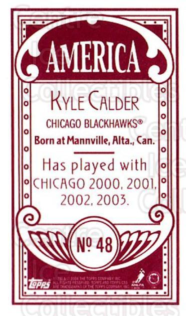 2003-04 Topps C55 Minis American Red #48 Kyle Calder<br/>1 In Stock - $5.00 each - <a href=https://centericecollectibles.foxycart.com/cart?name=2003-04%20Topps%20C55%20Minis%20American%20Red%20%2348%20Kyle%20Calder...&quantity_max=1&price=$5.00&code=318502 class=foxycart> Buy it now! </a>