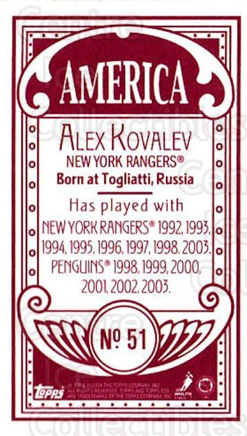 2003-04 Topps C55 Minis American Red #51 Alexei Kovalev<br/>1 In Stock - $5.00 each - <a href=https://centericecollectibles.foxycart.com/cart?name=2003-04%20Topps%20C55%20Minis%20American%20Red%20%2351%20Alexei%20Kovalev...&quantity_max=1&price=$5.00&code=318506 class=foxycart> Buy it now! </a>