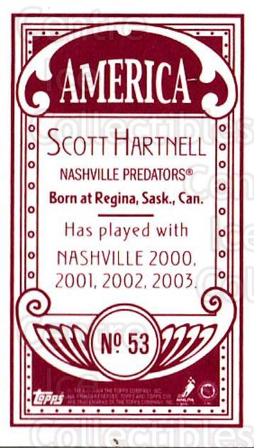 2003-04 Topps C55 Minis American Red #53 Scott Hartnell<br/>1 In Stock - $5.00 each - <a href=https://centericecollectibles.foxycart.com/cart?name=2003-04%20Topps%20C55%20Minis%20American%20Red%20%2353%20Scott%20Hartnell...&quantity_max=1&price=$5.00&code=318508 class=foxycart> Buy it now! </a>