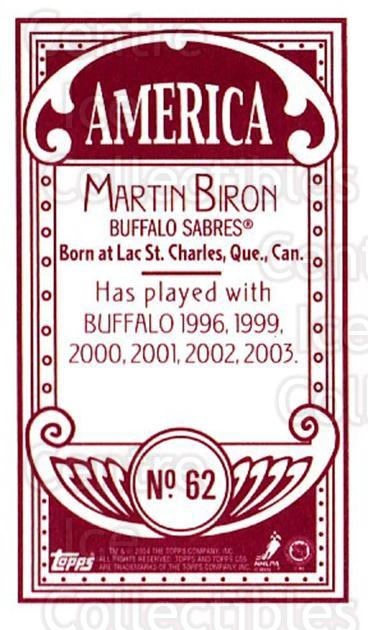 2003-04 Topps C55 Minis American Red #62 Martin Biron<br/>2 In Stock - $5.00 each - <a href=https://centericecollectibles.foxycart.com/cart?name=2003-04%20Topps%20C55%20Minis%20American%20Red%20%2362%20Martin%20Biron...&quantity_max=2&price=$5.00&code=318518 class=foxycart> Buy it now! </a>