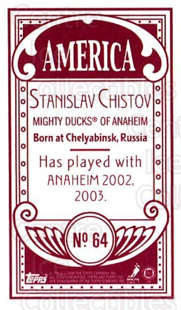 2003-04 Topps C55 Minis American Red #64 Stanislav Chistov<br/>2 In Stock - $5.00 each - <a href=https://centericecollectibles.foxycart.com/cart?name=2003-04%20Topps%20C55%20Minis%20American%20Red%20%2364%20Stanislav%20Chist...&quantity_max=2&price=$5.00&code=318520 class=foxycart> Buy it now! </a>