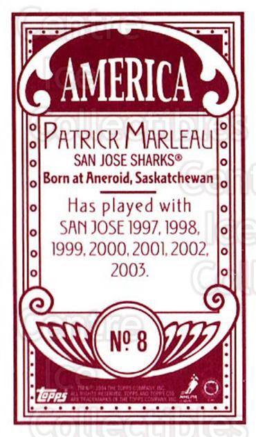 2003-04 Topps C55 Minis American Red #8 Patrick Marleau<br/>1 In Stock - $5.00 each - <a href=https://centericecollectibles.foxycart.com/cart?name=2003-04%20Topps%20C55%20Minis%20American%20Red%20%238%20Patrick%20Marleau...&quantity_max=1&price=$5.00&code=318536 class=foxycart> Buy it now! </a>