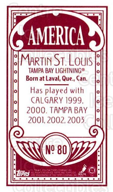 2003-04 Topps C55 Minis American Red #80 Martin St. Louis<br/>1 In Stock - $5.00 each - <a href=https://centericecollectibles.foxycart.com/cart?name=2003-04%20Topps%20C55%20Minis%20American%20Red%20%2380%20Martin%20St.%20Loui...&quantity_max=1&price=$5.00&code=318537 class=foxycart> Buy it now! </a>