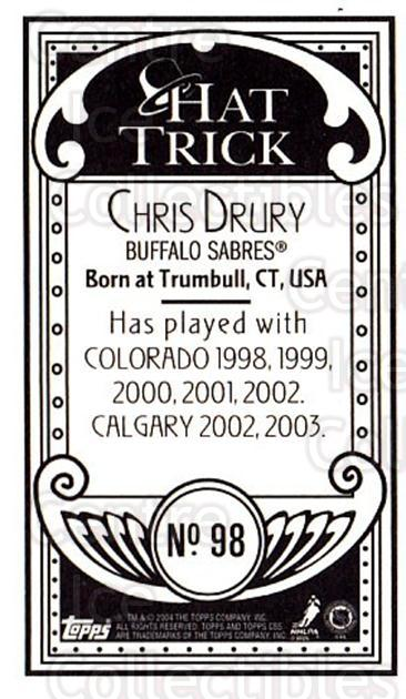 2003-04 Topps C55 Minis Hat Trick #98 Chris Drury<br/>1 In Stock - $5.00 each - <a href=https://centericecollectibles.foxycart.com/cart?name=2003-04%20Topps%20C55%20Minis%20Hat%20Trick%20%2398%20Chris%20Drury...&quantity_max=1&price=$5.00&code=318875 class=foxycart> Buy it now! </a>