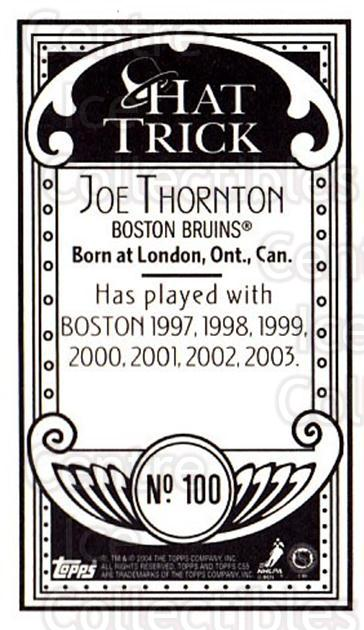 2003-04 Topps C55 Minis Hat Trick #100 Joe Thornton<br/>1 In Stock - $5.00 each - <a href=https://centericecollectibles.foxycart.com/cart?name=2003-04%20Topps%20C55%20Minis%20Hat%20Trick%20%23100%20Joe%20Thornton...&quantity_max=1&price=$5.00&code=318881 class=foxycart> Buy it now! </a>