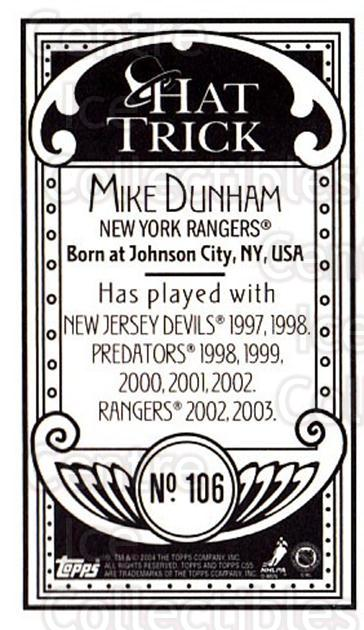 2003-04 Topps C55 Minis Hat Trick #106 Mike Dunham<br/>1 In Stock - $5.00 each - <a href=https://centericecollectibles.foxycart.com/cart?name=2003-04%20Topps%20C55%20Minis%20Hat%20Trick%20%23106%20Mike%20Dunham...&quantity_max=1&price=$5.00&code=318886 class=foxycart> Buy it now! </a>